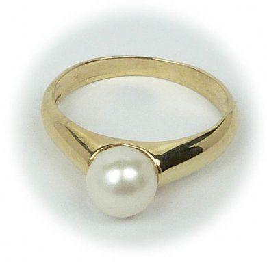 0f3c94232 Zlatý prsten s pravou perlou velikost 51   Hodinky-klenoty.cz