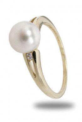 Zlatý prsten s perlou a zirkony velikost 54  82fe1aa14c1