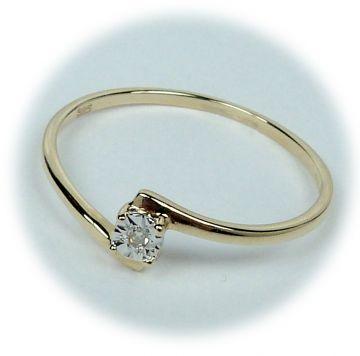 Zlatý prsten s diamantem A28896-54 | Hodinky-klenoty.cz