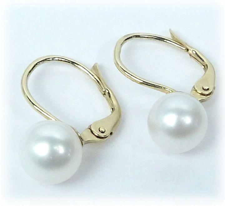 Zlaté náušnice s pravými perlami  c679986211a